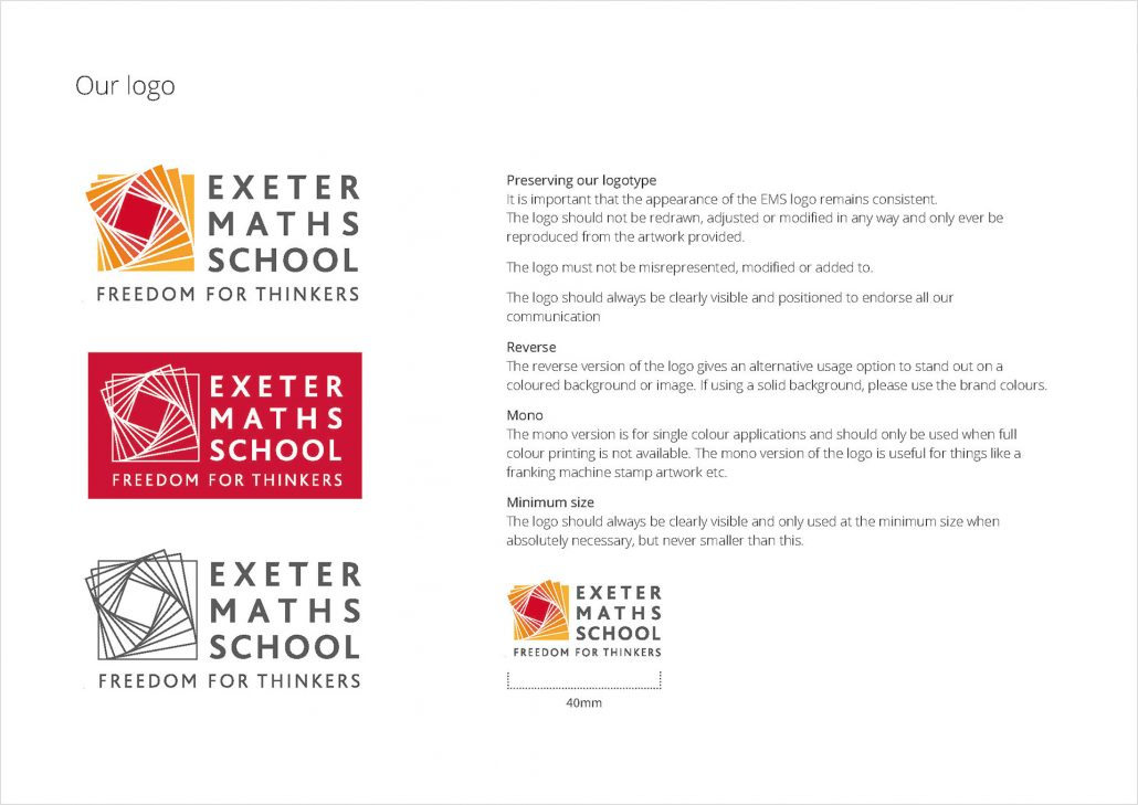 Exeter Maths School logo guidelines